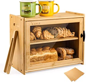 Ikkle Bamboo Bread Box Two-Layer Bread Storage Holder Large Capacity Bread Organizer With Toaster Tongfor Kitchen Pantry