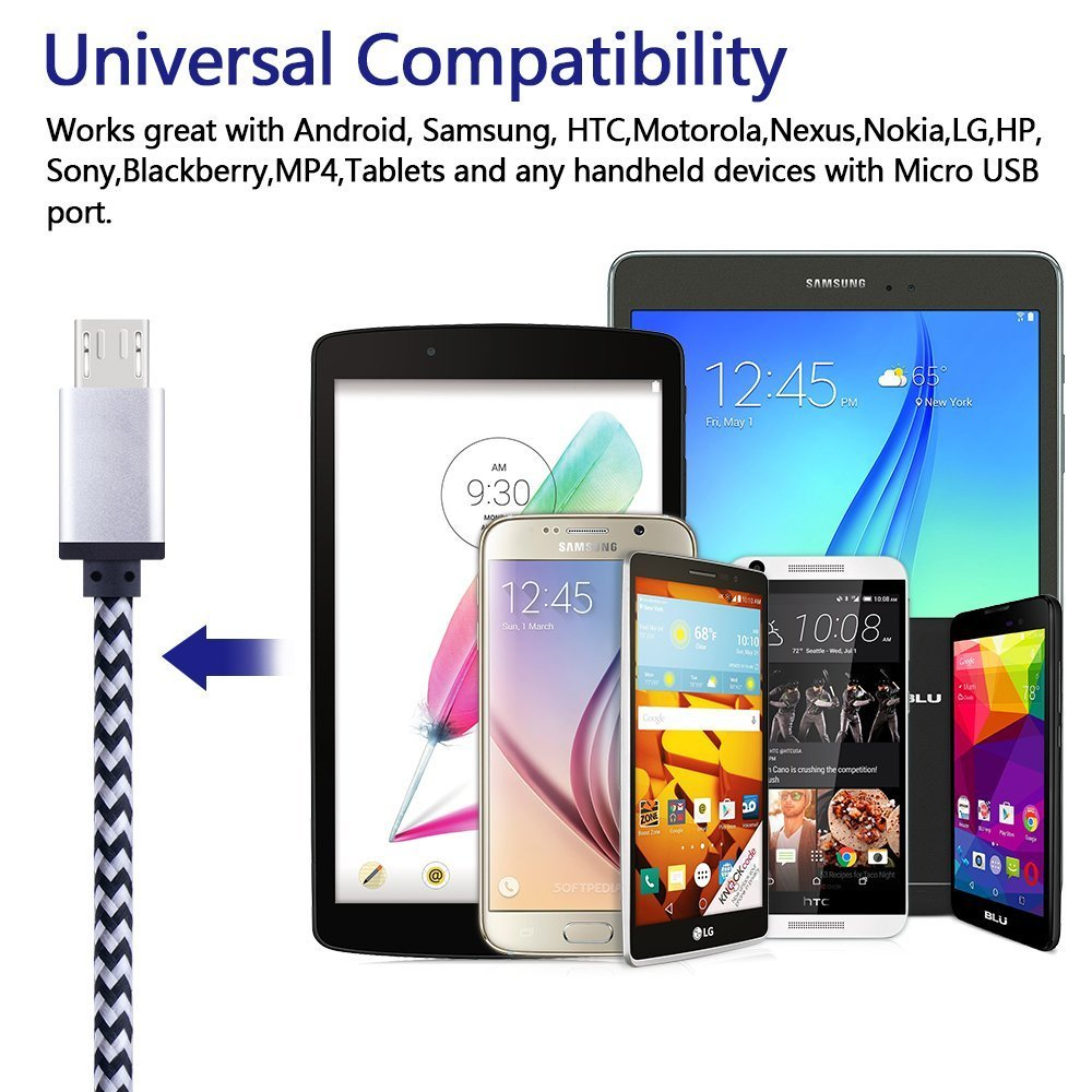 Micro USB Cable, Sicodo High Speed [5-Pack] 6FT Premium Nylon Braided USB 2.0 A Male to Micro B Data Sync and Charger Cables for Samsung Galaxy S7, Note 5, HTC, Motorola, Sony and More Android Phones by Sicodo (Image #8)