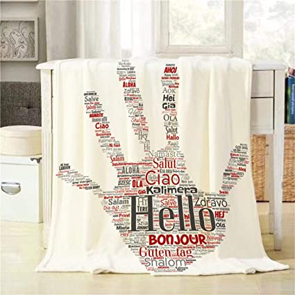 Amazon.com: Mugod Conceptual Hand Throw Blanket Stamp Hello ...