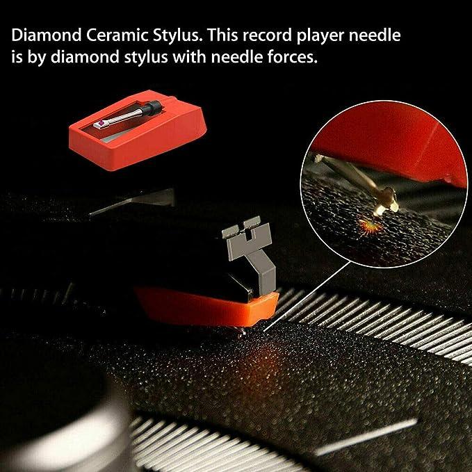 SNOWINSPRING Turntable Diamond Stylus para Fon/ógrafo Turntable Vinil LP Gram/ófono Record Agujas Accesorios Stylus