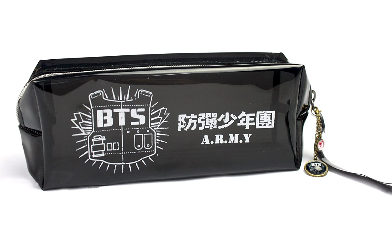 Fanstown BTS KPOP鉛筆ケース+ BTSロゴペンダントwith Signature PVCカード B010Q3XZO8 PU PU