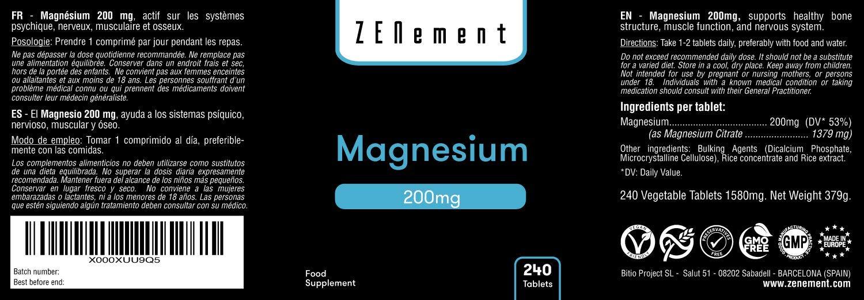 Magnesio 200 mg, 240 Comprimidos | Ayuda a los sistemas psíquico, nervioso, muscular y óseo | Vegano, sin aditivos, sin gluten, No-GMO, GMP | de ...