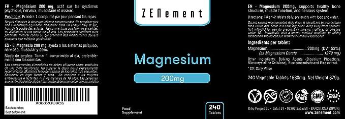 Magnesio 200 mg, 240 Comprimidos | Ayuda a los sistemas psíquico, nervioso, muscular y óseo | Vegano, sin aditivos, sin gluten, No-GMO, GMP | de Zenement: ...