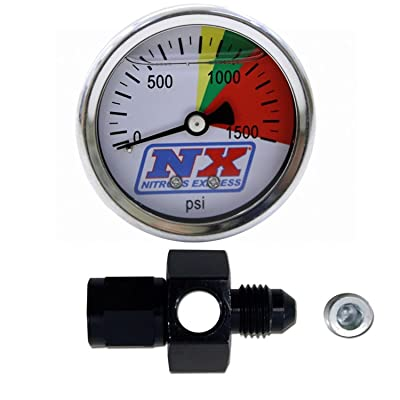 Nitrous Express 15509 D-4 0-1500 psi N2O Flo-Thru Pressure Gauge: Automotive