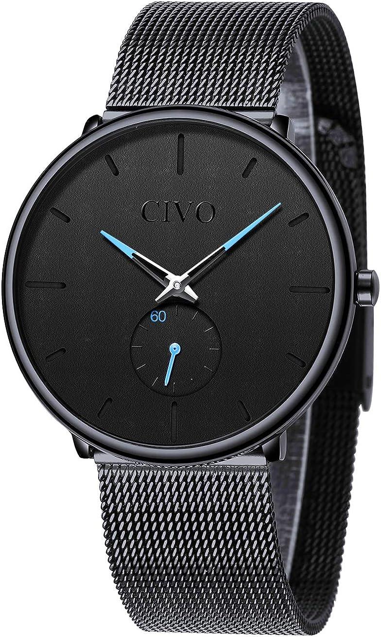 CIVO Reloj Negro Ultra Fino para Hombre Minimalista Moda Relojes de Pulsera para Hombres Vestir Casual Impermeable Reloj de Cuarzo para Hombre con Banda Negro de Acero Inoxidable