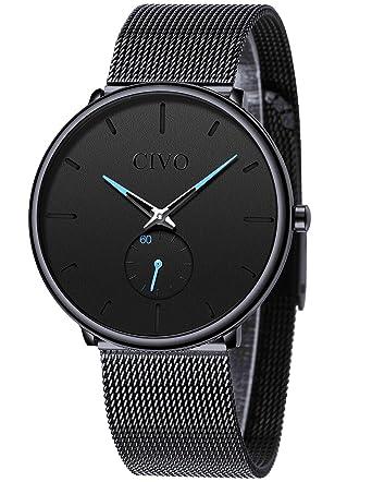 f136c3128700b CIVO Mens Watch Stainless Steel Ultra Thin Minimalist Watches Fashion Luxury  Wrist Watches for Men Business Dress Casual Waterproof Quartz Watch for Man  ...