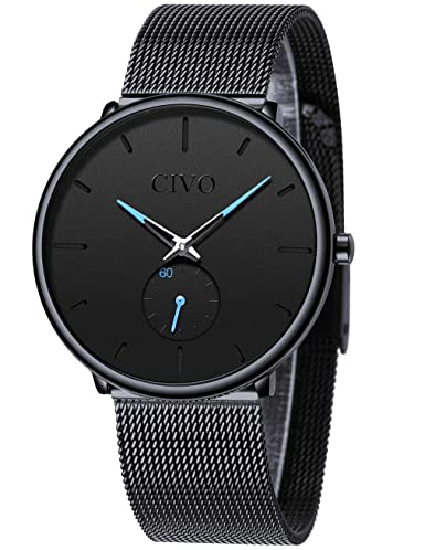 8c1ddee0cf CIVO Mens Black Ultra Thin Watch Minimalist Fashion Waterproof Wrist Watches  for Men Business Dress Casual