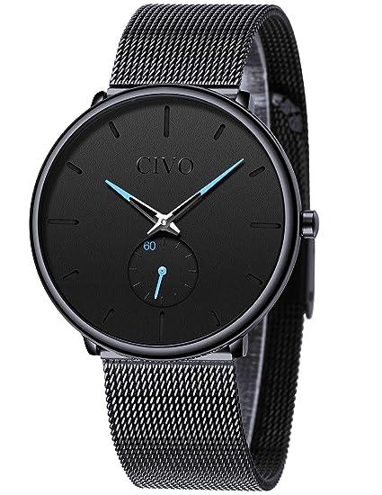 2fb7e68f25bd CIVO Reloj Negro Ultra Fino para Hombre Minimalista Moda Relojes de Pulsera  para Hombres Vestir Casual