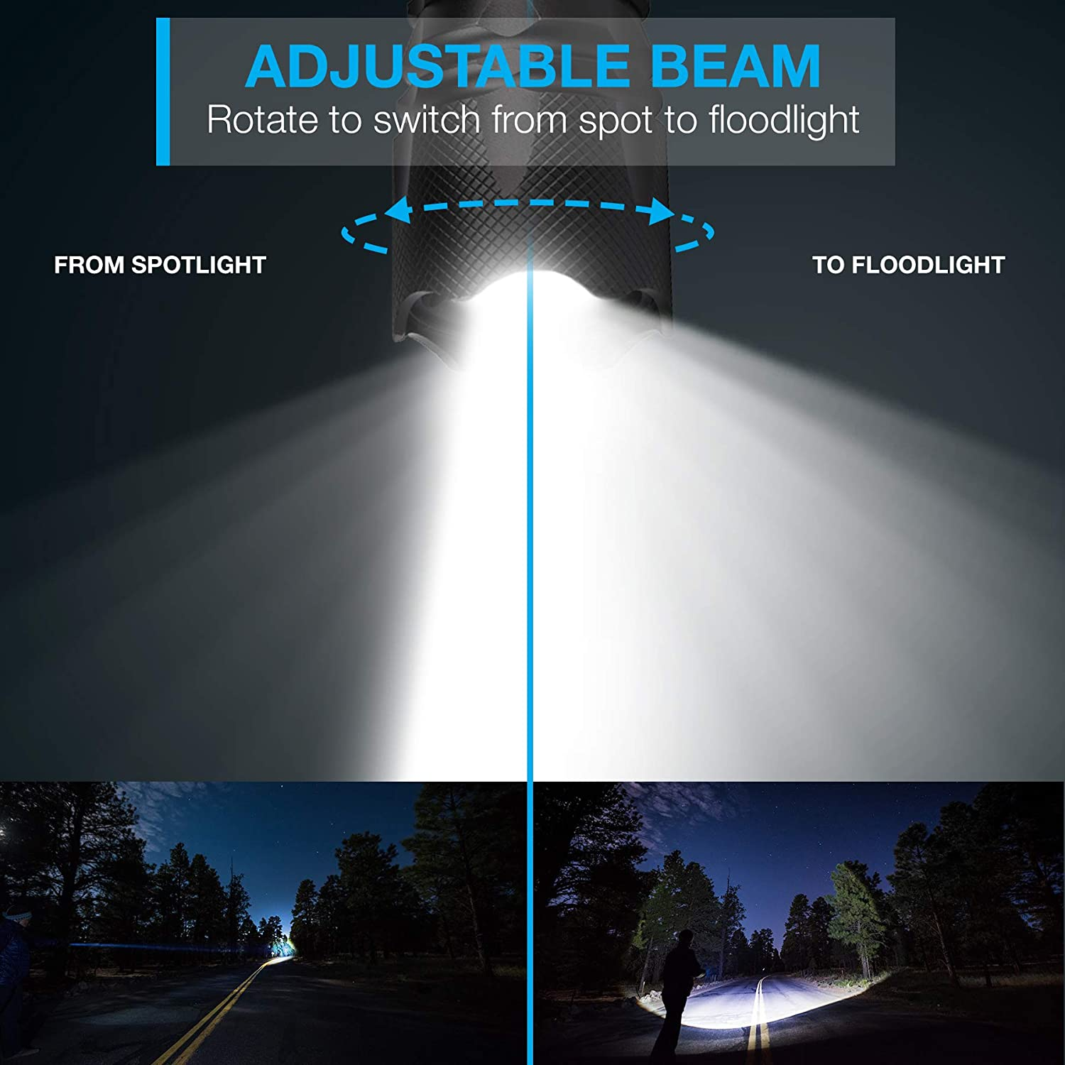 XOR Extremely Durable Vont Ultra Bright CREE LED Flashlight with Adjustable Focus Portable LED Flashlight Torch - Zoomable