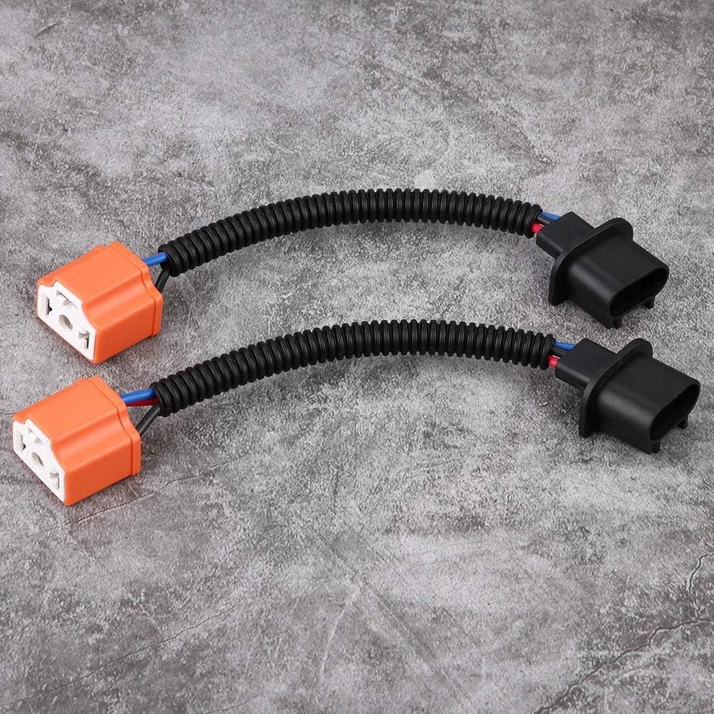 2 piezas H13 9008 a H4 9003 Adaptador de Hb2 Cable de conversi/ón de faros Luz led hembra Cable de conversi/ón negro
