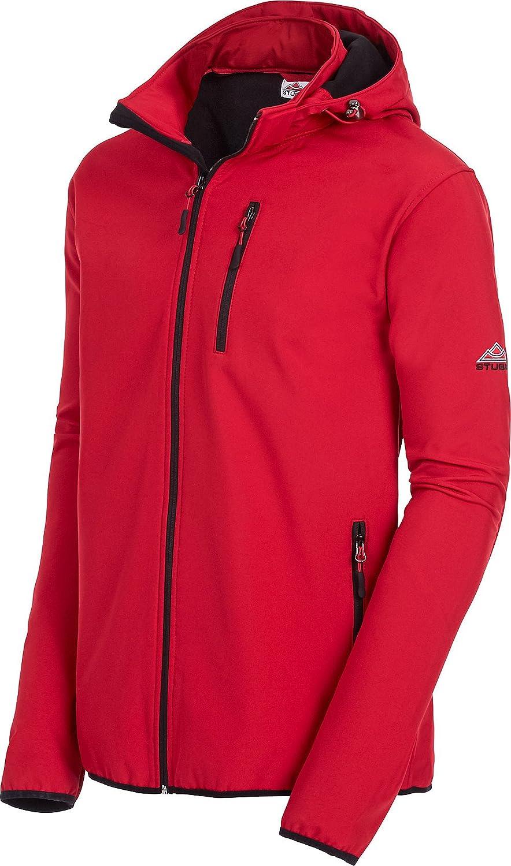 Stubai Herren Softshell Jacke Übergangsjacke mit Abnehmbarer Kapuze, wasserdicht und windabweisend (Größen  M - 4XL, Farbe  Rot Schwarz)
