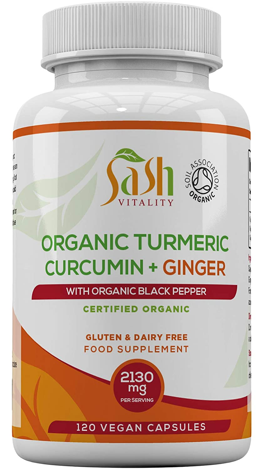 Sash Vitality Organic Turmeric Curcumin 2130mg High Strength Serving with  Black Pepper & Ginger | Best Curcumin Absorption | 120 Vegan Approved