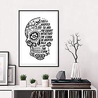 tableau tête de mort noir et blanc 2