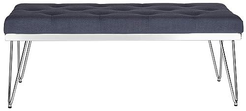 Safavieh Home Collection Marcella Navy Chrome Bench