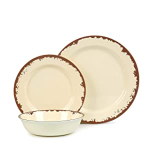 Dish Dinnerware Set for 4 - Melamine 12 Piece Dinner Dishes Set for Camping Use, Lightweight, Dishwasher Safe, Light Yellow