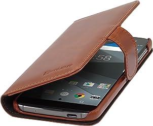 StilGut Talis, Housse Blackberry DTEK60 avec Porte-Cartes en Cuir véritable. Etui Portefeuille à Ouverture latérale et Languette magnétique pour Blackberry DTEK60, Cognac