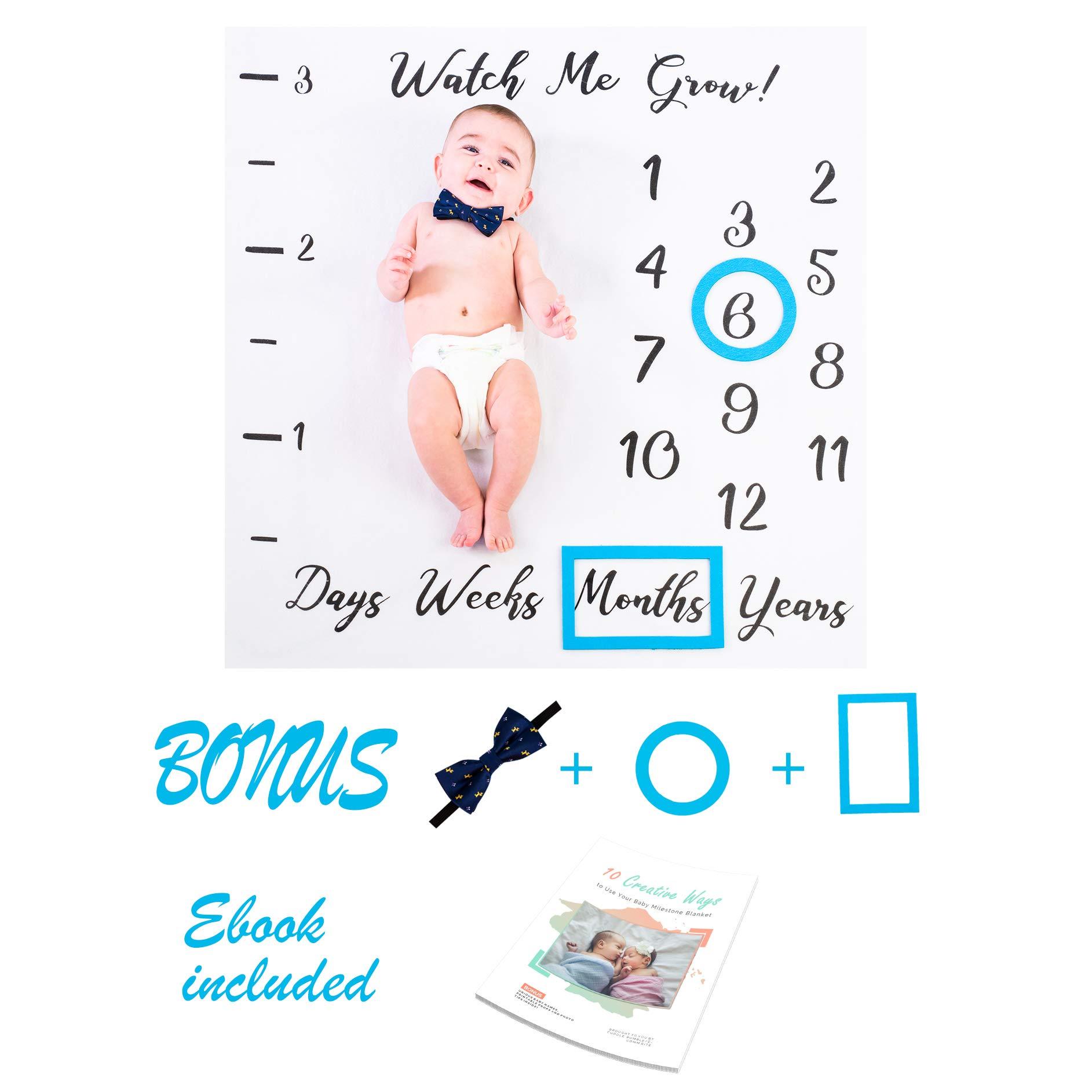 Cuddle Bumble Baby Milestone Blanket Set | Bonus Ruler, Frames, Bow Tie & eBook | Best Baby Shower | Gender Reveal Gift | Photography Backdrop Prop | Newborn Boy & Girl (Blue Frames & Headband)