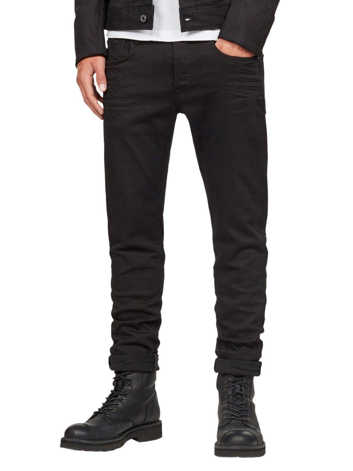 G-Star Raw Men's 3301 Slim Jean in Ita Black Superstretch, Rinsed, 34 x 34