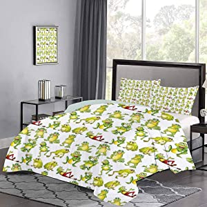 GugeABC Nursery Cotton Duvet Cover 3 Piece California King Size, Frogs in Different Positions Funny Happy Cute Expressions Faces Toads Cartoon Bedding Sets, Green Yellow Red