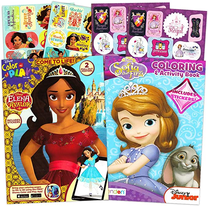 - Amazon.com: Elena Of Avalor Coloring Book Super Set Bundle -- 2 Books  Featuring Elena Of Avalor And Sofia The First Coloring Books, Posters, And  Reward Sticker (Party Supplies): Toys & Games