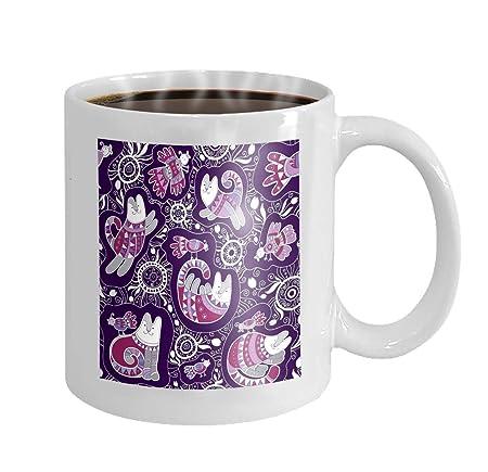11 oz Taza de café Gatos Patrón Impresiones Novedad Regalos de ...
