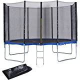 Giantex Trampoline Combo Bounce Jump Outdoor Trampoline for Family School Entertainment W/Safety Enclosure Net Spring Pad Ladder Rain Cover