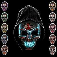 KiraKira Máscara LED Halloween, Halloween LED Máscaras Adultos LED Mask para la Fiesta de Disfraces, Máscara Disfraz…