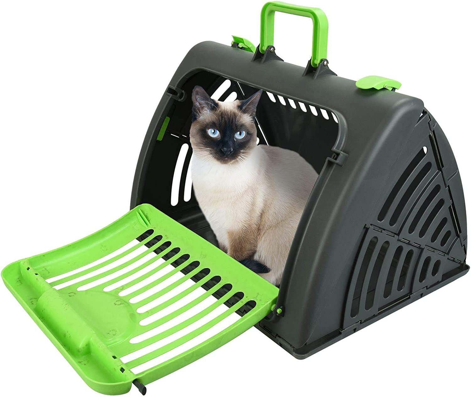MAX-CARE Large Pet Travel Carrier Dog Cat Rabbit Basket Plastic Handle Hinged Door Folding Collapsible Transport Box Crate Cage Green