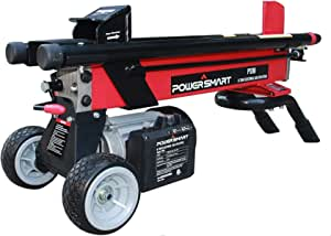 PowerSmart Log Splitter, 6-Ton 15 Amp Electric Log Splitter, Electric Wood Splitter, Standard Size, Red, Black, PS90