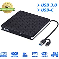 External DVD Drive for Laptop, Portable High-Speed USB-C&USB 3.0 CD Burner/DVD Reader Writer for PC Desktops, Compatible with Windows/Mac OSX/Linux