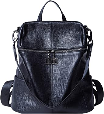 Women Fashion Genuine Leather Travel Convertible Backpack Purse W//Cellphone Pocket