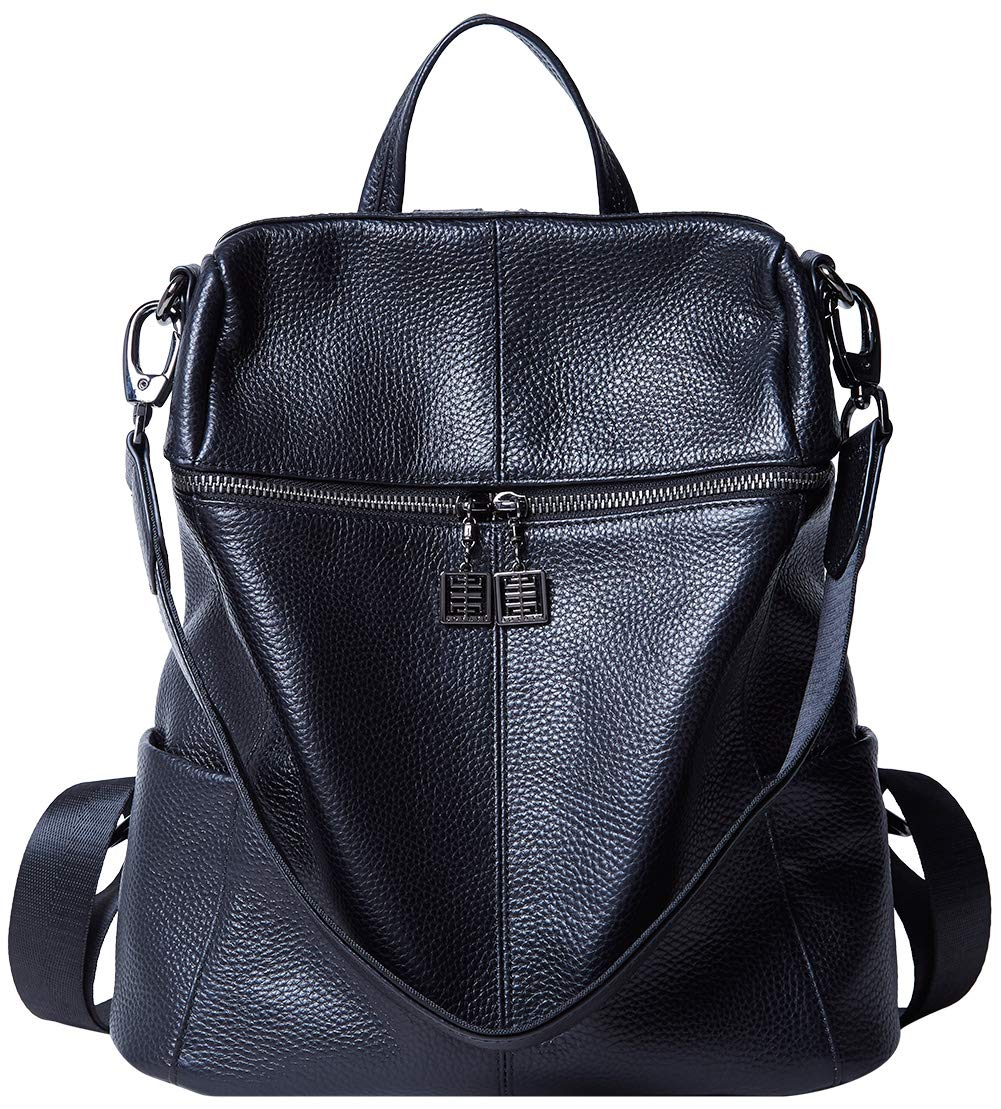 BOYATU Convertible Genuine Leather Backpack Purse for Women Fashion Travel Bag Black-02 by BOYATU