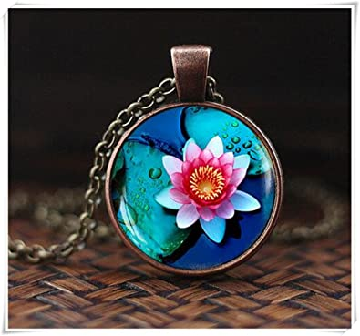 Lotus Pendant Lotus Flower Necklace Amazoncouk Jewellery