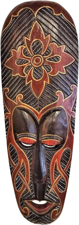Beautiful Vibrant Hand Chiseled Wood African Style Wall Decor Mask!
