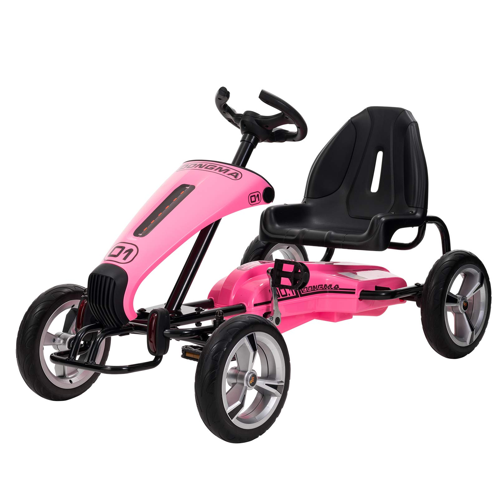 Uenjoy Pedal Go Kart Pedal Cars with Adjustable Seat, Sports Steering Wheel, Pink