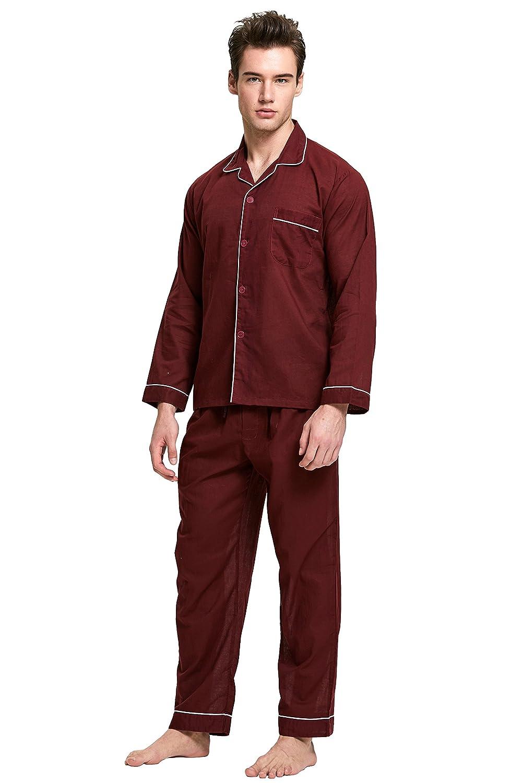 Long Sleeve Woven Sleepwear TONY AND CANDICE Men/'s 100/% Cotton Pajama Set
