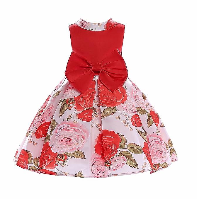 Ankoee Vestidos de Rojo Princesa con Las flores de La Boda Para Las Niñas, Bonito y elegante vestido de verano: Amazon.es: Ropa y accesorios