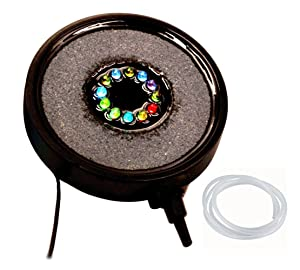 Disk air stone with underwater LED light