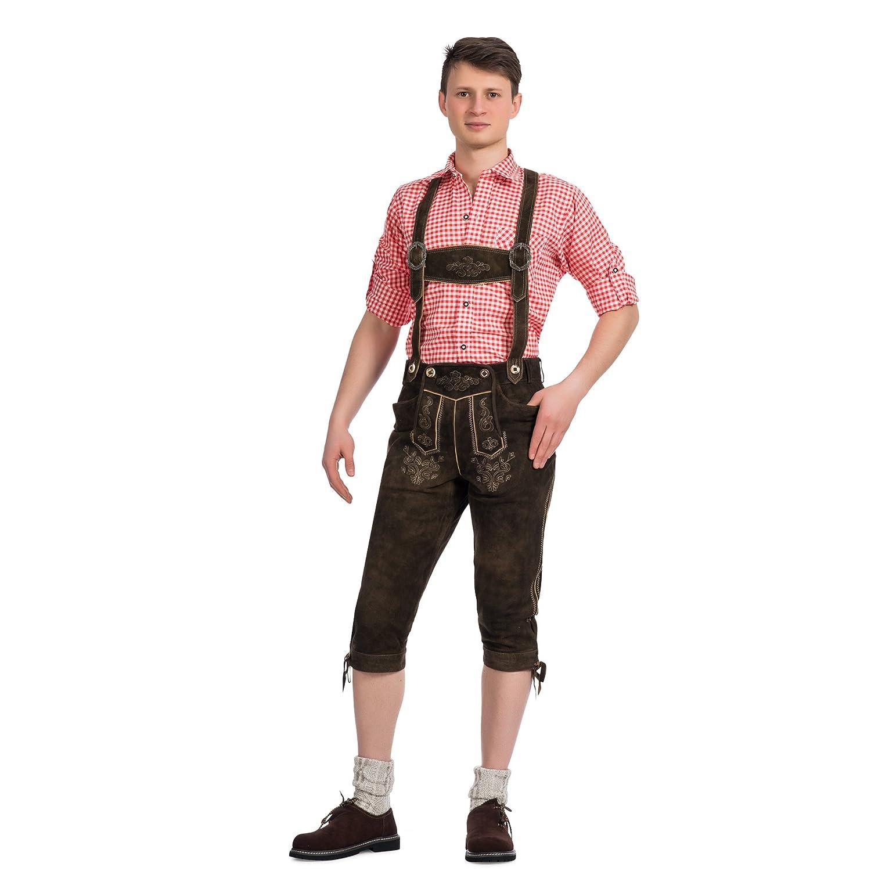 Herren Trachten Lederhose Kniebundhose mit Trägern aus feinstem Ziegenveloursleder in antikbraun verfügbar in Größe 46 bis 60