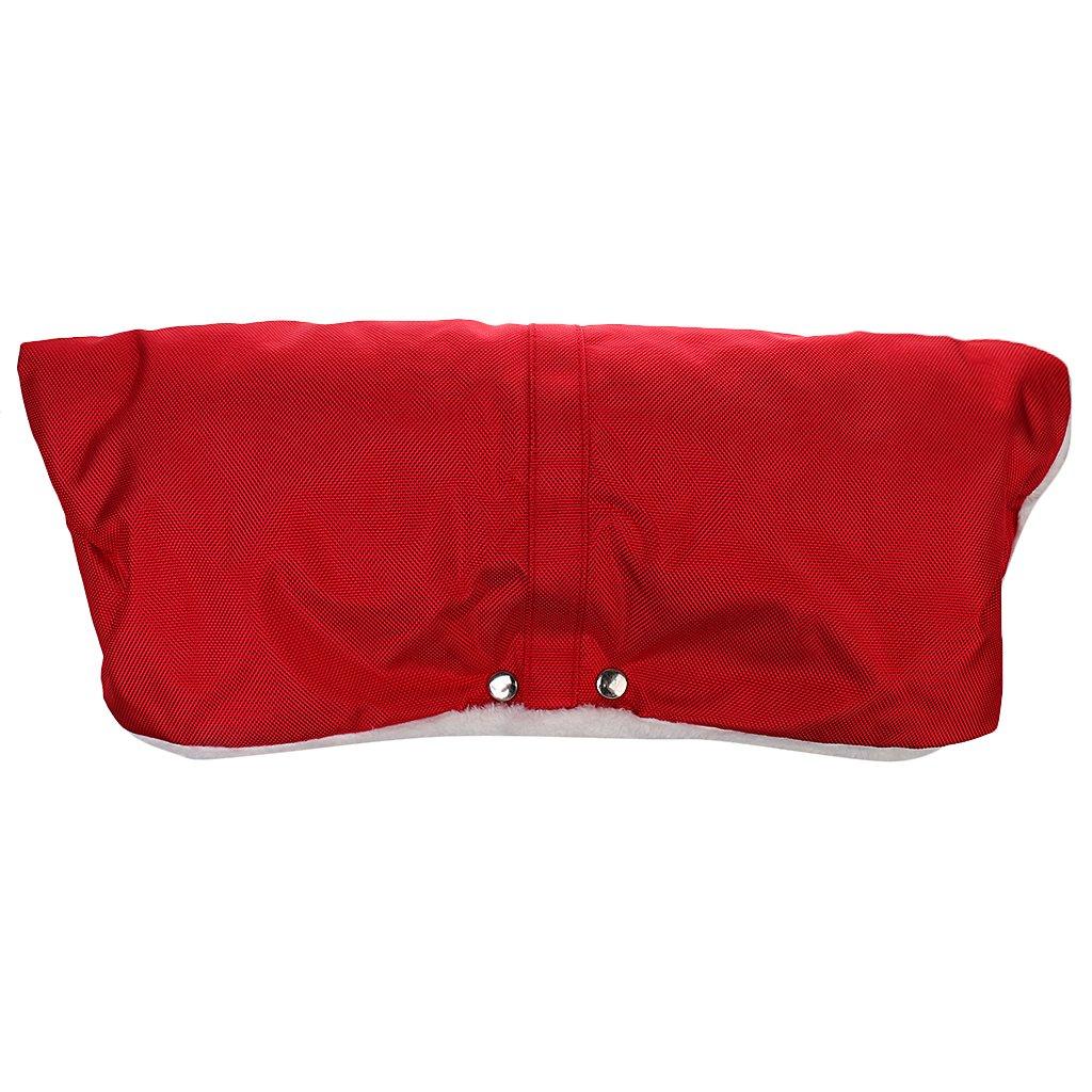 Generic Baby Stroller Pram Fleece Golves Wool Hand Muff Warmer Mummy Hand Care - Red