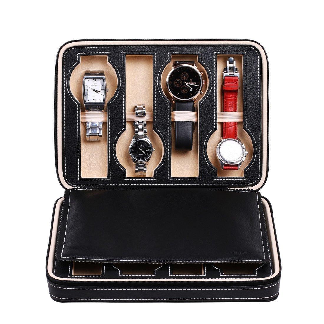 Sprout 8-slotレザーWatch Box withジッパーロック、表示ケースオーガナイザー、旅行ジュエリーストレージボックス 24cm*18cm*6cm ブラック ZHM#9 B0736V76QJ ブラック ブラック