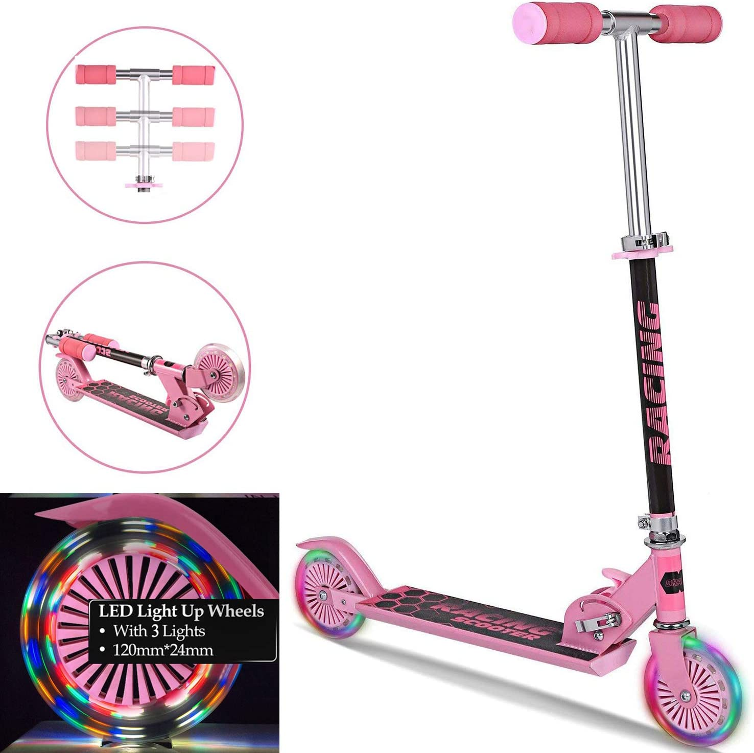 Aceshin Mini Kick Scooter Aluminum Folding Scooters with LED Light Up Wheels, Adjustable Height for Kids Girls Boys Toddler, Ages 3-8 Years