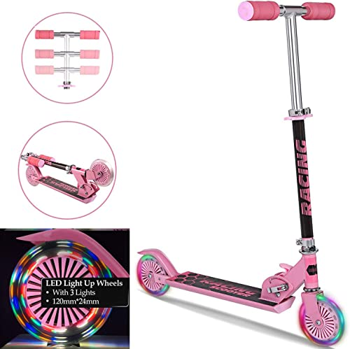 Aceshin Mini Kick Scooter Aluminum Folding Scooters with LED Light Up Wheels, Adjustable Height for Kids Girls Boys Toddler, Ages 3-8 Years US Stock
