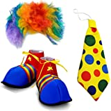 Adult Size Clown Costume Wig Shoes and Tie (Set Of 3)