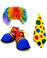 Adult Size Clown Costume - 3 Pc, Clown Wig and Costume Accessories - by Funny Party Hats