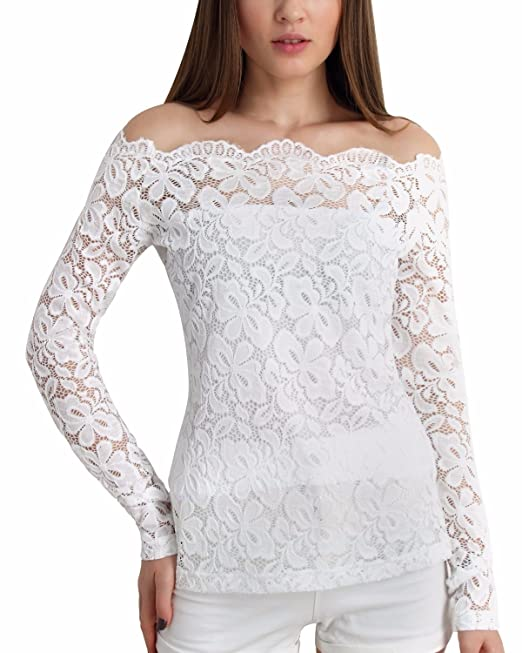 Para Playa Blusa Elegante Barco Camiseta Encaje Largas Mujer Casual Verano Zanzea Cuello Mangas ZikuTOPX