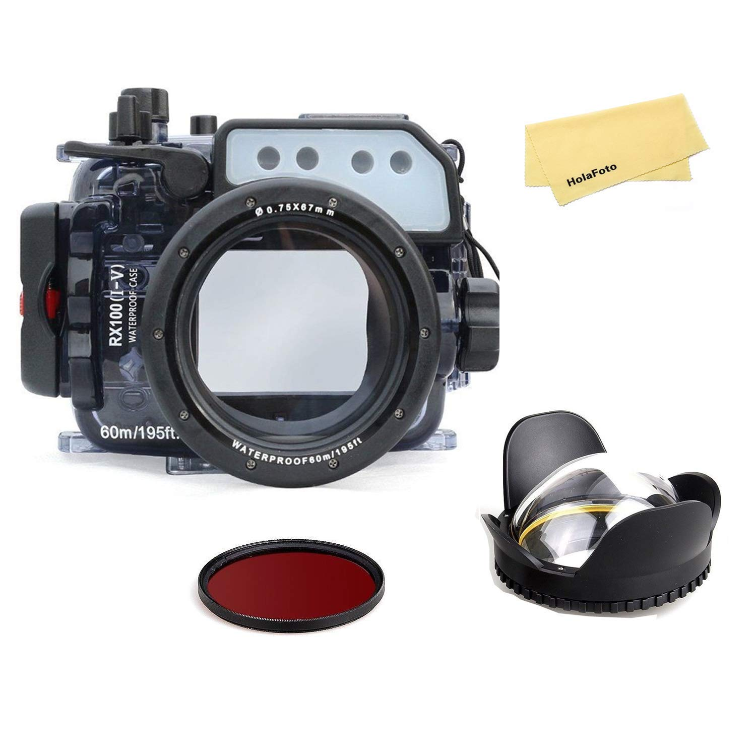 Seafrogs Underwater Camera Housing w/Dome Port Kit, Waterproof Diving Protective Case for Sony RX100/RX100 II/RX100 III/RX100 IV/RX100 V, 195FT/60M