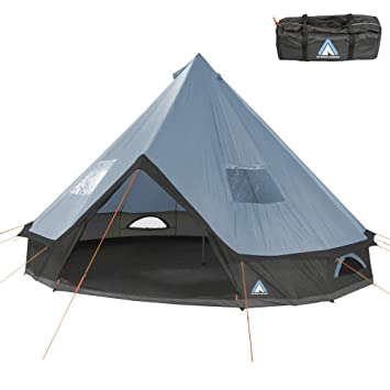 size 40 b8209 f7ad8 10T Outdoor Equipment Unisex - Adult Camping Tent Mojave 400 Arona XXL Tipi  Tent Waterproof 4-8 Man Round Tent Indian Tent Diameter 4m Blue