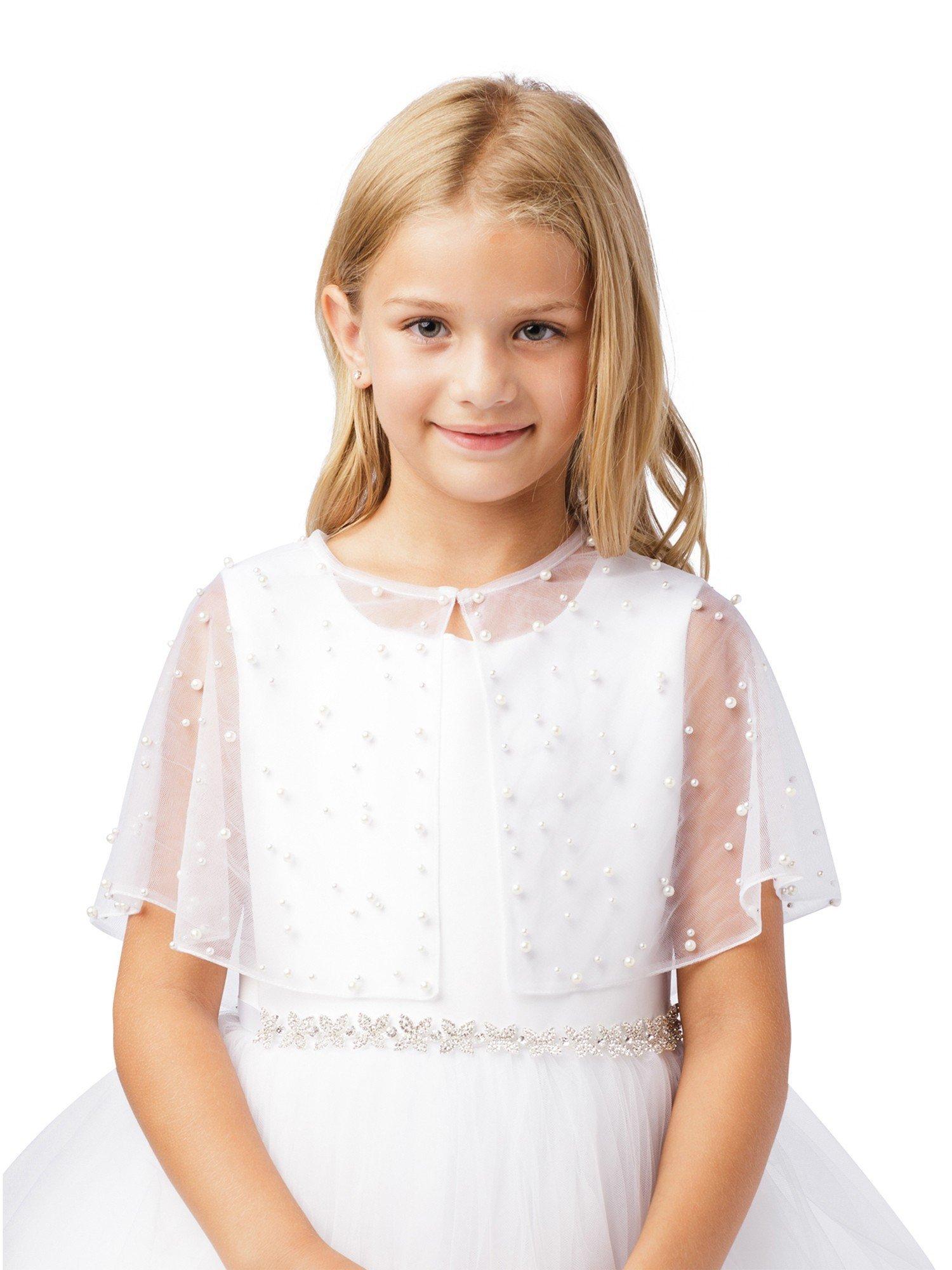 Tip Top Kids Big Girls White Pearl Embellished Translucent Elegant Mesh Cape 8