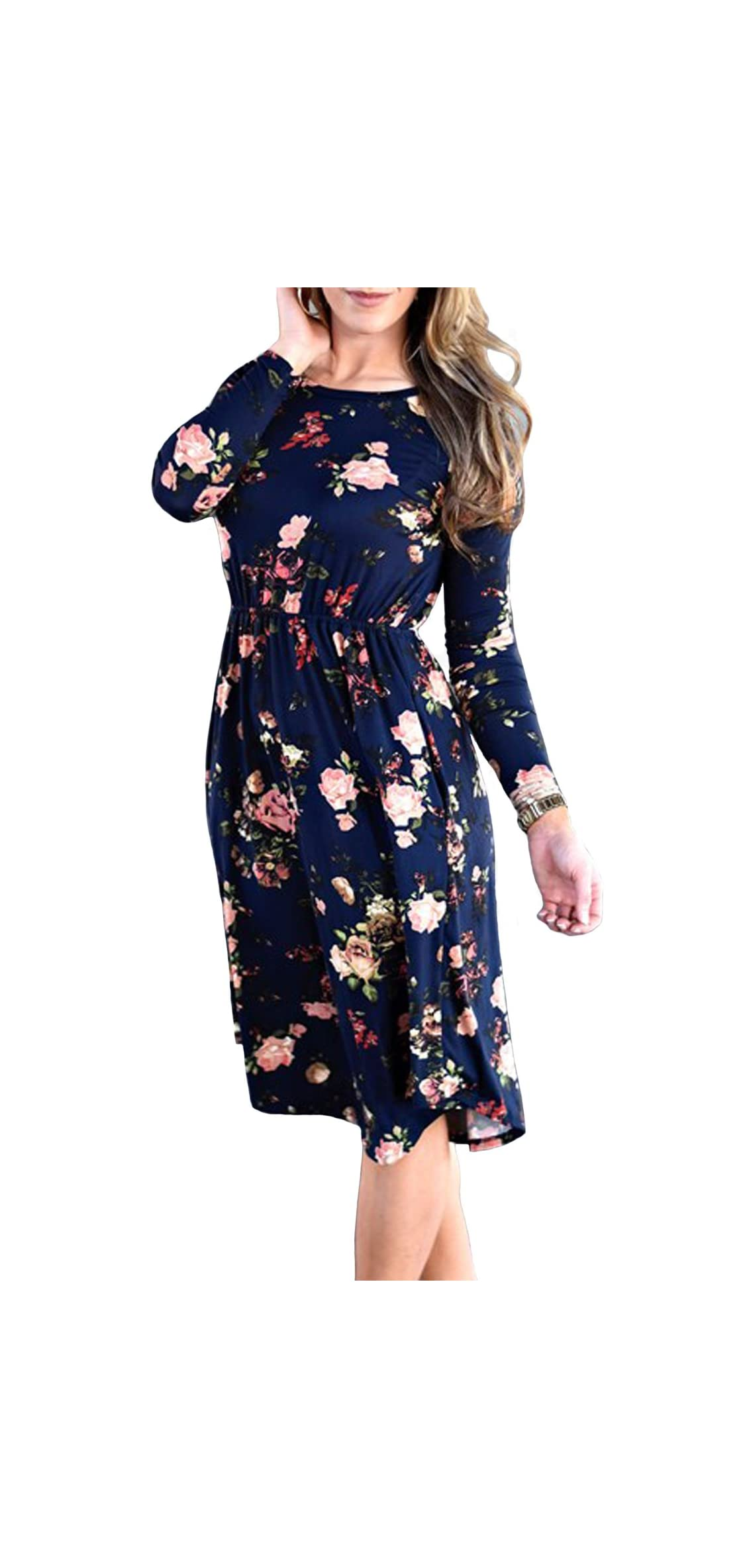 Women's Long Sleeve Floral Pockets Casual Swing Pleated